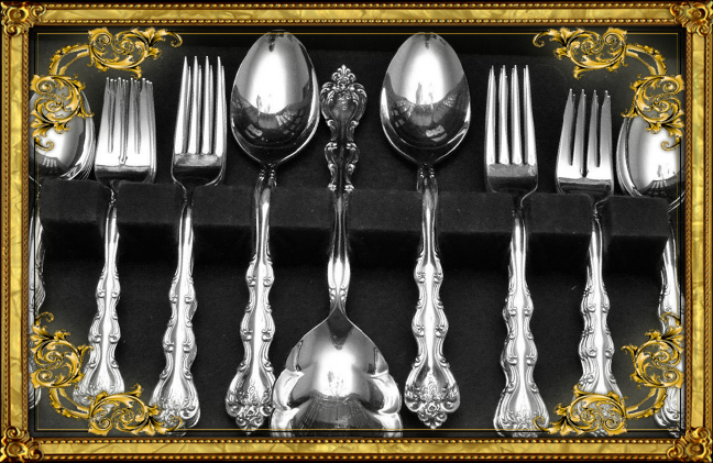 gold frame silverware
